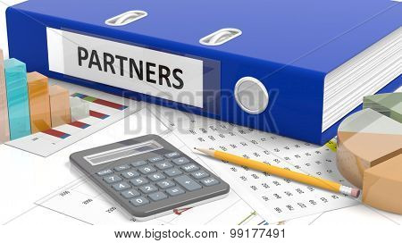 Office desktop with stats, calculator, pencil, papers and folder named Partners