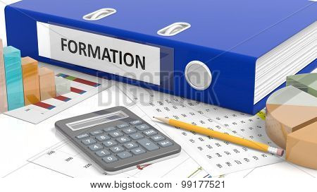 Office desktop with stats, calculator, pencil, papers and folder named Formation
