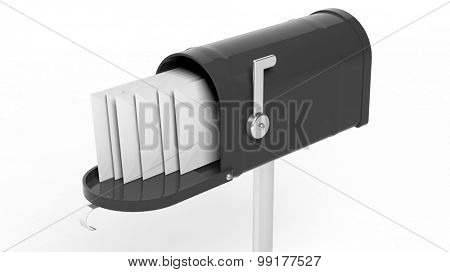 Black mailbox with letters isolated on white background
