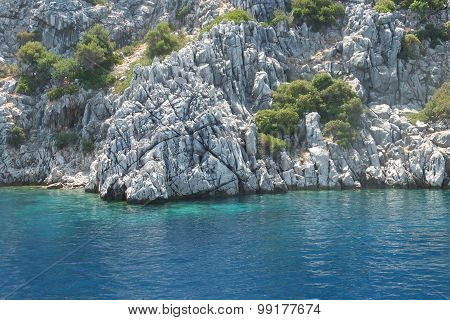 The islands in the Aegean Sea, the white rock, Turkey, Marmaris