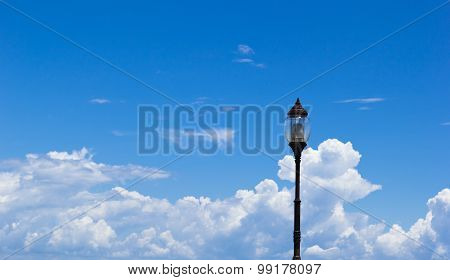 Garden Lamp On Blue Sky Background