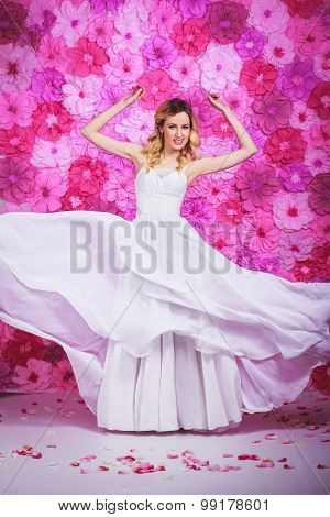 Bride On The Pink Flowers Background