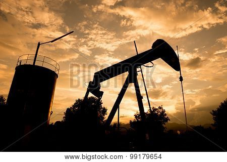 Old Pumpjack Pumping Crude Oil