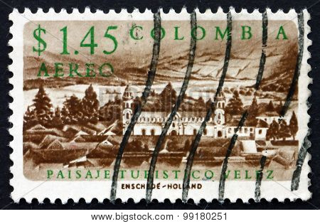 Postage Stamp Colombia 1961 View Of Velez, Town