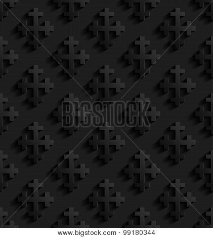 Black Seamless Pattern With Crosses.