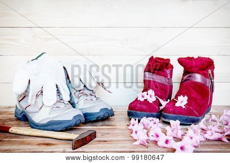 Men Shoes Work With Winter Red Boots On Wood Background.