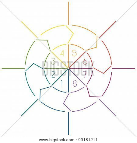 Infographic Circle Colourful Lines 8 Positions