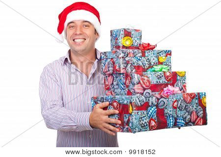 Laughing Man With Santa Hat Hold Gifts