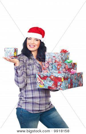Smiling Santa Helper Hold Christmas Presents