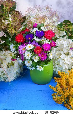 Flowers on a wooden table