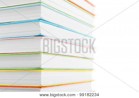 Colorful books isolated on white