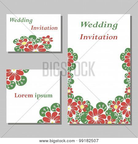 a set of invitation cards