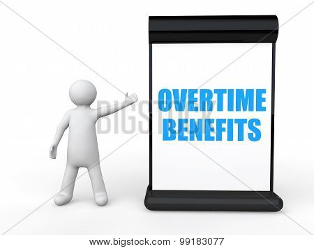 3d man with overtime benefits board