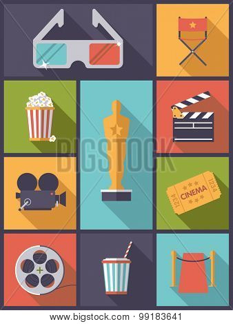 Movie and Cinema icons vector illustration. Vertical flat design illustration with various movie and cinema icons
