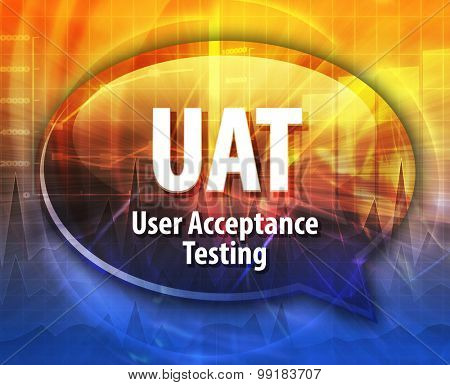 Speech bubble illustration of information technology acronym abbreviation term definition UAT User Acceptance Testing