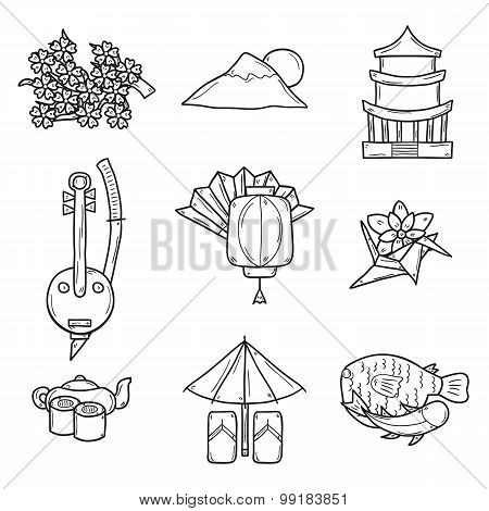 Set of icons in hand drawn outline style on Japan theme: geisha, sword, sushi, sakura, lantern, orig