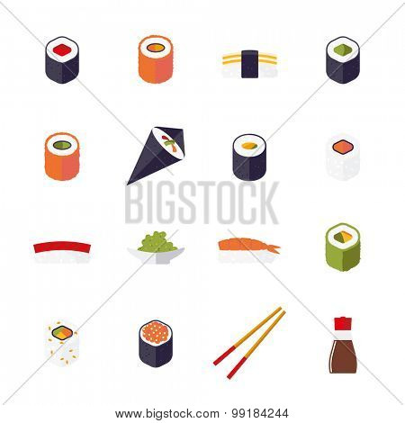Sushi Flat Design Isolated Vector Icons Collection. Set of 16 sushi related icons isolated on white background