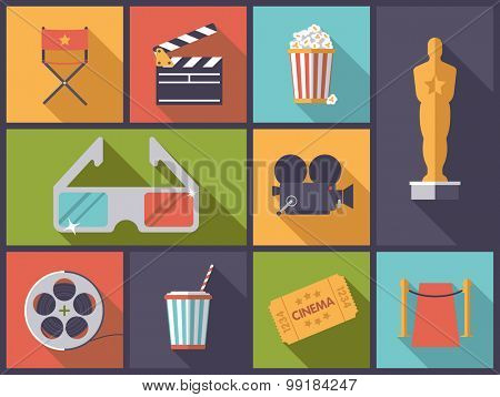 Movie and Cinema icons vector illustration. Horizontal flat design illustration with various movie and cinema icons