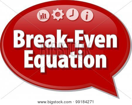 Speech bubble dialog illustration of business term saying Break-Even Equation