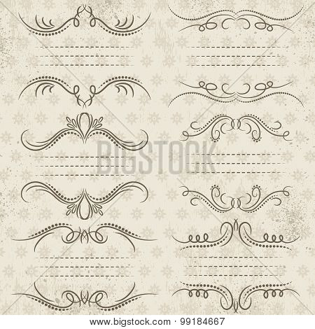 Calligraphy Decorative Borders, Ornamental Rules, Dividers, Vector