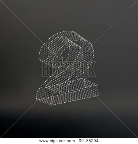 Vector low poly numbers 2. Polygon number 2 alphabet. Vector illustration.