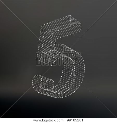 Vector low poly numbers 5. Polygon number 5 alphabet. Vector illustration.