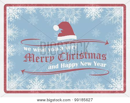 Christmas background in retro style with snowflakes christmas hat and ornate elements