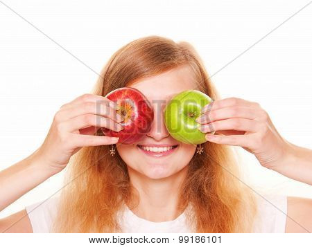 Women Closing With Eyes Two Apples. Isolated On White Background