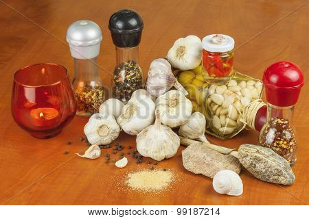 Spices and ingredients to prepare meat for grilling.
