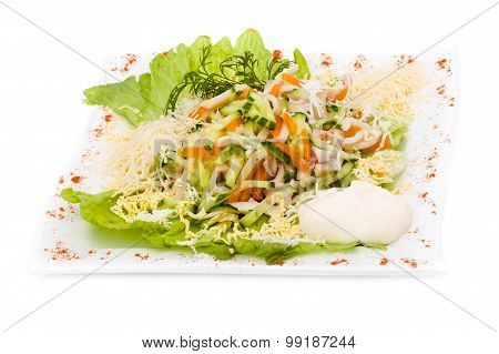 salad with assorted greens, fried pork, carrots, croutons, parmesan cheese, and mushrooms
