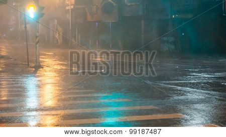 Heavy Rain On City Street