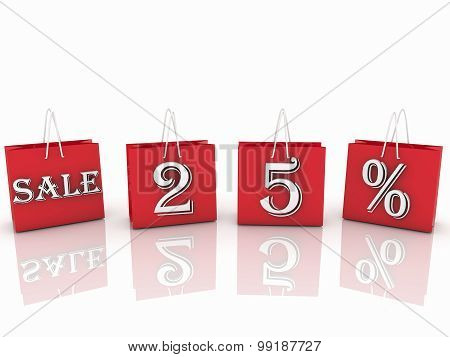 Shopping bags with sales and percent inscription