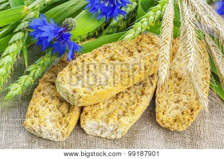 Swedish toasts with with cereal and cornflower
