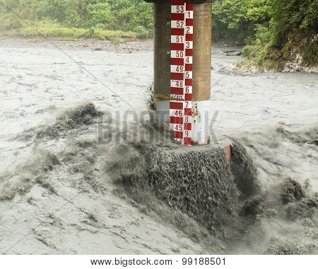 Fast Flowing River During Typhoon
