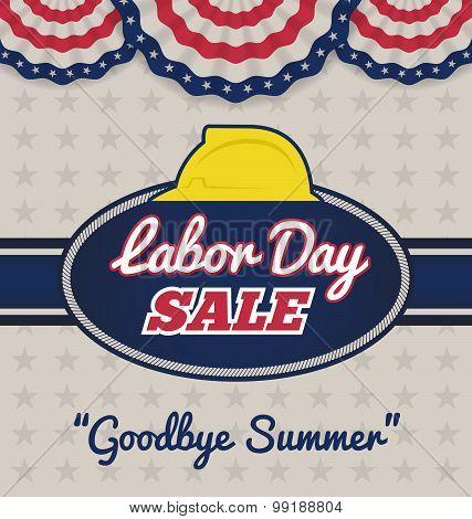 Labor Day Sale Promotion Advertising Badge Labels Design. Vector Illustration