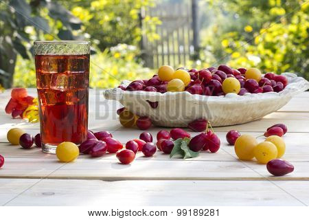 Juice With Ice From The Dogwood And Plums