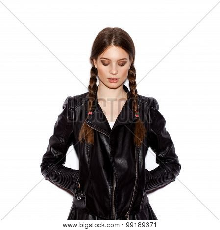 Woman With Pigtails In Black Leather Jacket
