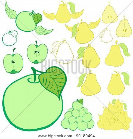 Clipart apples and pears