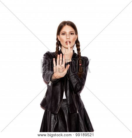 Fashion Girl Hipster. Young Woman Showing Stop Gesture