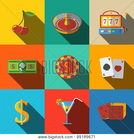 Casino, gambling modern flat icons set - dice, poker cards, chip, cherry, slot machine, roulette, ma