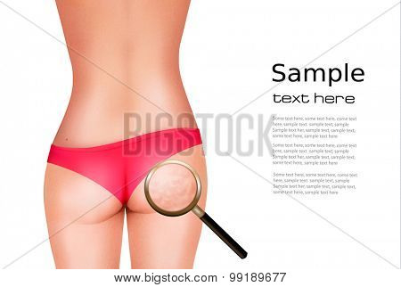 Female body with magnifying glass. Vector.