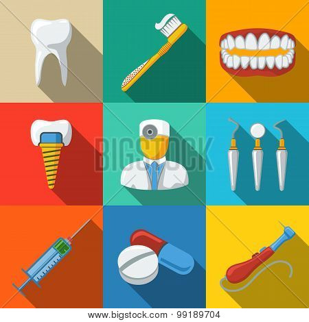 Dental flat long shadow icons set - tooth, jaw, toothbrush, dentist tools, doctor, prosthesis, drill