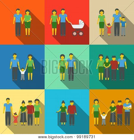 Multigenerational family flat long shadow icons set with all ages members. Vector