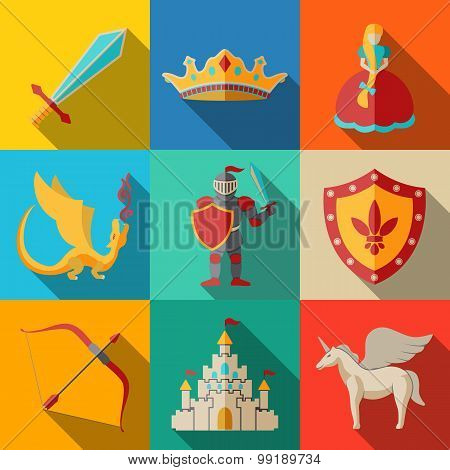 Flat icons set, fairytale, game - sword, bow, shield, knight, dragon, princess, crown, unicorn, cast