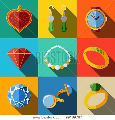 Jewelry colorful flat icons set with long shadow - rings, diamonds, watch, earrings, pendant, cuff l