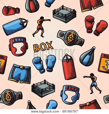 Boxing hand drawn color pattern - gloves, shorts, helmet, round card, boxer, ring, belt, punch bags.
