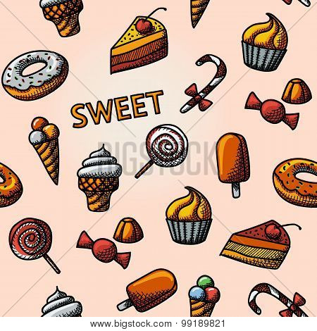 Seamless handdrawn pattern with - cupcakes, donuts, cakes, ice creams, christmas candy, lollipops, c