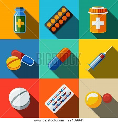 Medicine, drugs flat icons set - pillsbox, tablets, pill, blister, vitamins, syringe, liquid medicin