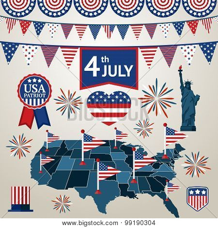 Fourth of july card with different signs and symbols. Vector