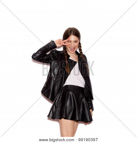 Young Pretty Woman Saluting And Winking